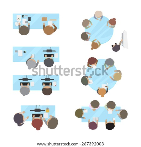 Business People, Office Workers, Brainstorming, Development, Coworking Space Set - Isolated On White Background - Vector Illustration, Graphic Design Editable For Your Design - stock vector