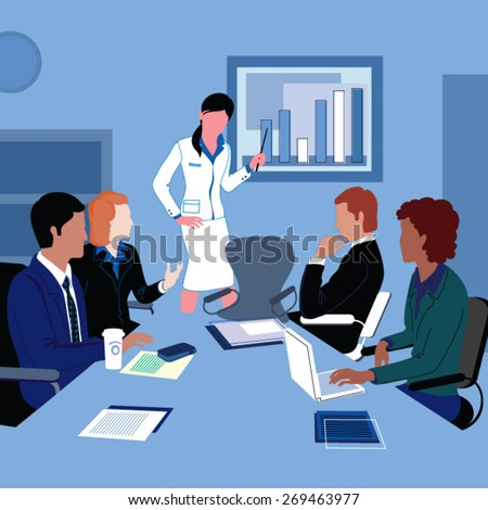Business People on a Meeting - stock vector