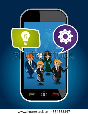 Business people on mobile phone with map background, communication and networking around the world concept illustration. EPS10 vector file. - stock vector