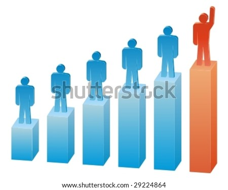 Business people on the graph - stock vector