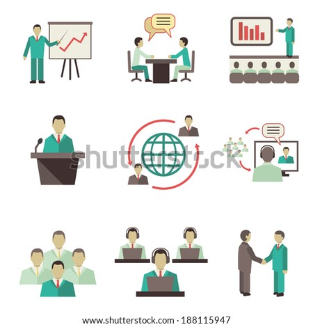 Business people online global discussions teamwork collaboration, meetings and presentations concept icons set isolated vector illustration - stock vector