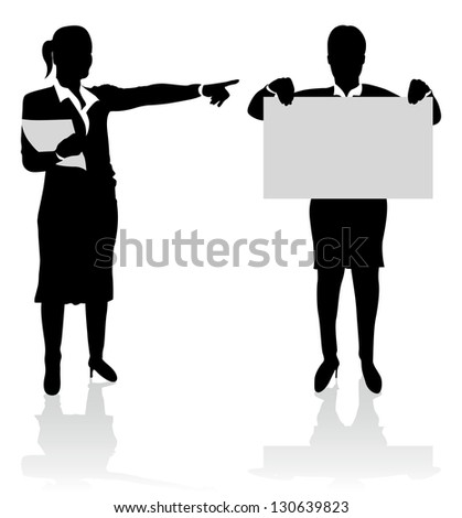 business people pointing at a board - stock vector