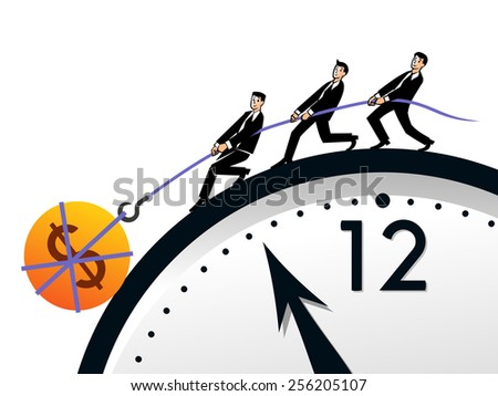 Business people pull the rope with big money. Time, money and teamwork concept.  - stock vector