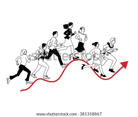 Business people run graph curves red line black isolate. Black and white vector illustration. EPS8 - stock vector