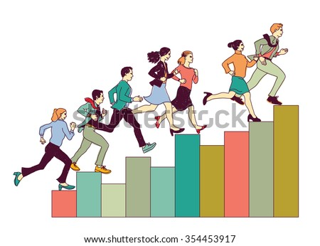 Business people run on graph diagram. Group people run forward. Color vector illustration. EPS8 - stock vector