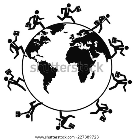 business people running around the world - stock vector