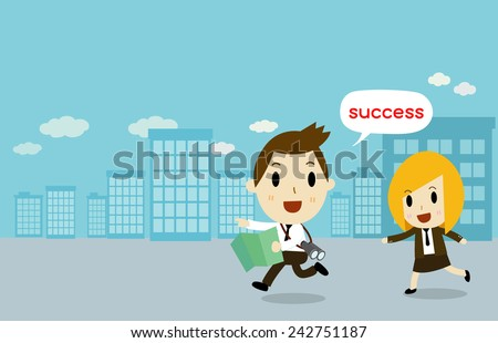 Business people running to success - stock vector