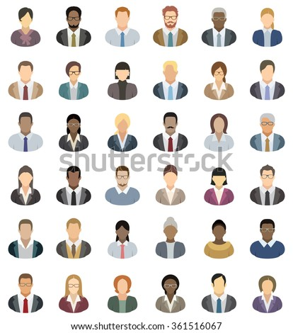 Business People - set of thirty-six people icons.  - stock vector
