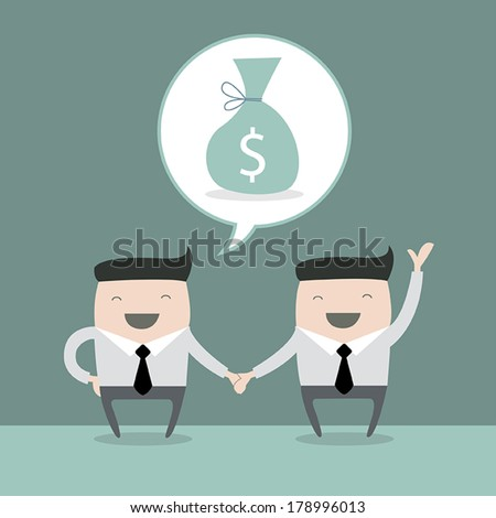 Business people shaking hands. Businessmen making a deal and think about profit. vector illustration - stock vector