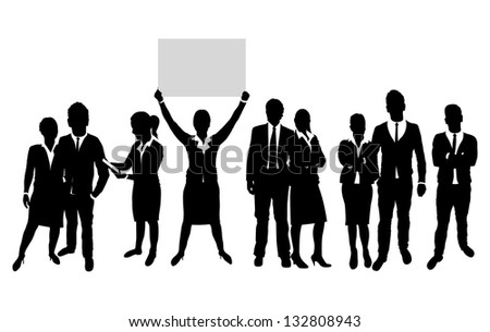 business people silhouette - stock vector