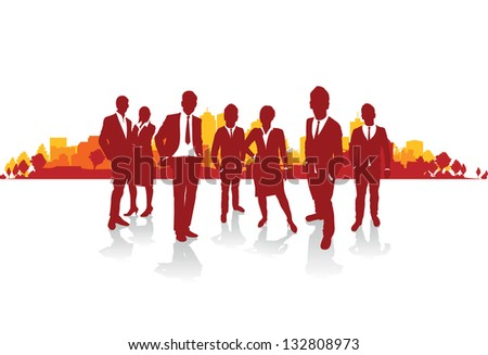 business people silhouette on a cityscape background - stock vector
