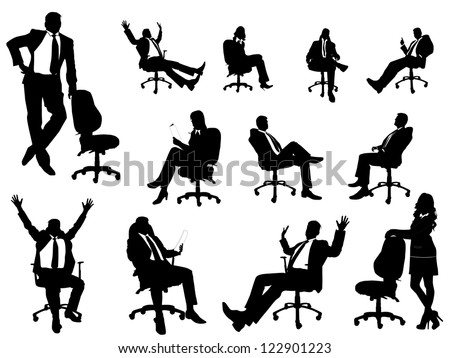 Business people silhouette with office chairs - stock vector