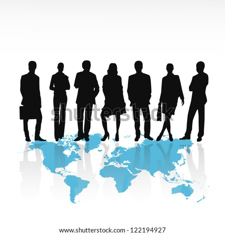 Business people silhouettes standing on world map isolated on white background - Vector illustration - stock vector