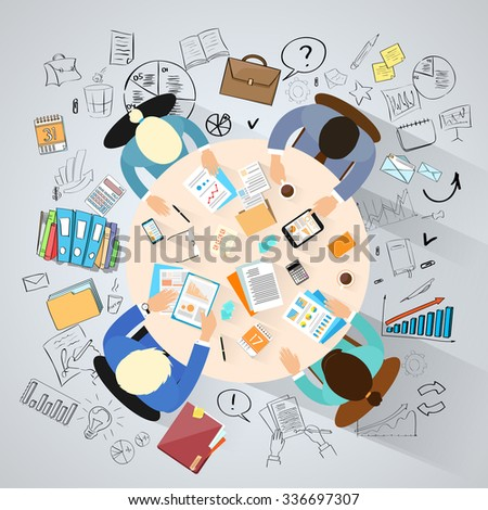 Business People Sitting Around Desk Top View Over Sketch Background Businesspeople Group Meeting Conference Doodle Hand Draw Concept Flat Vector Illustration - stock vector