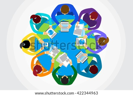 Business People Sitting Desk Globe Top View Global International Collaboration Flat Vector Illustration - stock vector