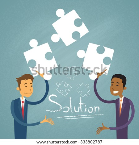 Business People Solution Solve Puzzle Two Businessman Mix Race Cooperation Collaboration Colleagues Retro Vector Illustration - stock vector