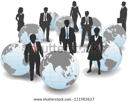 Business people stand in world group as global workforce team - stock vector