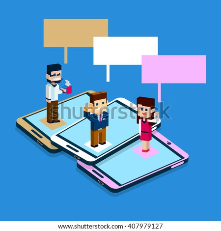 Business People Stand On Big Cell Smart Phone Social Network Communication Man Woman With Chat Bubble 3d Isometric Vector Illustration - stock vector