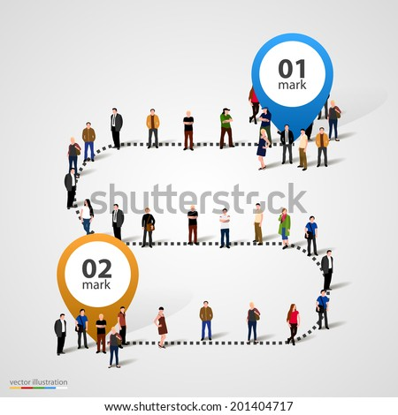Business people standing in a line. Vector illustration - stock vector