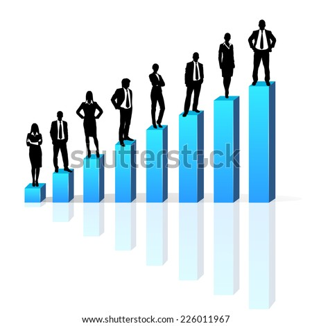 Business people standing on 3d financial bar graph group black silhouette concept businesspeople team vector growth chart - stock vector