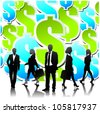 Business people team with dollar sign background.Vector - stock vector