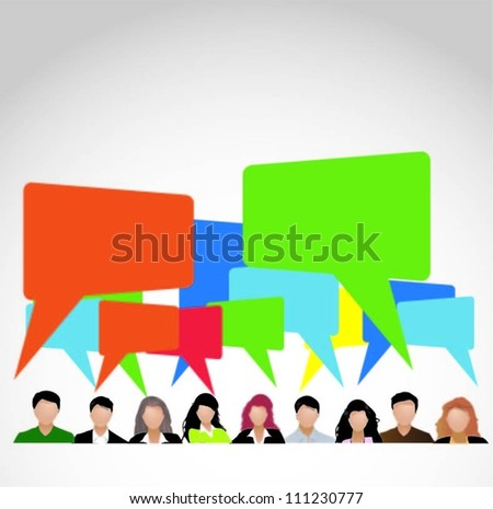 Business people team with speech bubbles-vector illustration - stock vector