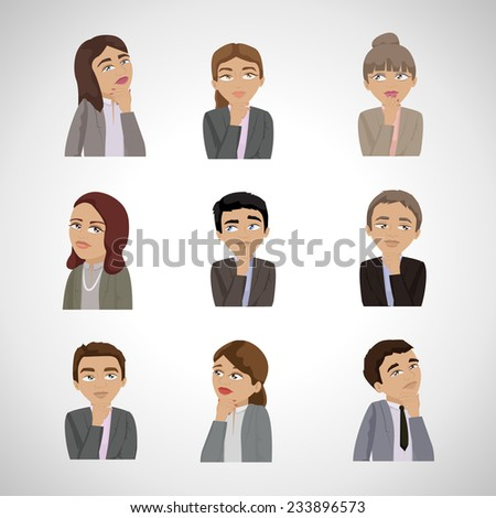 Business People Thinking - Isolated On Gray Background - Vector Illustration, Graphic Design Editable For Your Design  - stock vector