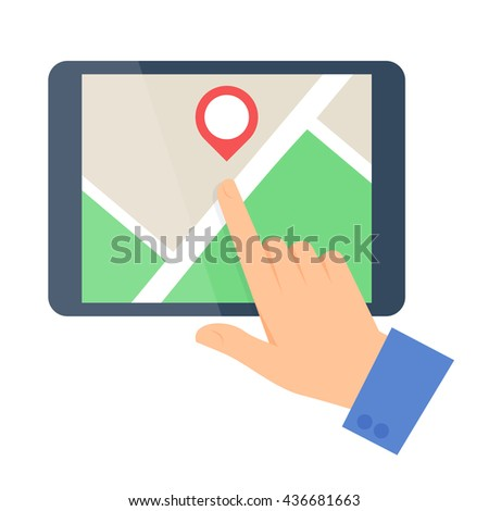 Business people travel concept. Flat vector illustration of a human hand and a map on a tablet computer screen. Man and pointer are pointing a place. Infographic elements isolated on white background. - stock vector