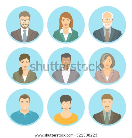 Business people vector flat avatars, women and men, in suits and casual clothes. Male and female profile icons of different ages and lifestyle. Attractive friendly multiracial faces at round portraits - stock vector
