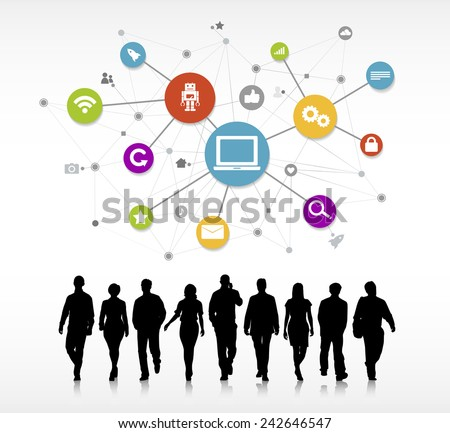 Business People Walking with Social Media Symbols Vector - stock vector