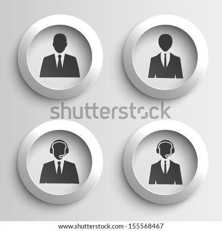 business people web black paper icon set. vector illustration - stock vector