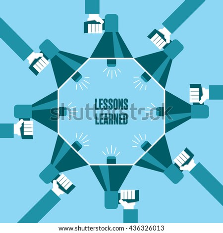 Business people with a megaphone yelling, Lessons Learned - illustration - stock vector