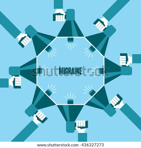 Business people with a megaphone yelling, Migraine - illustration - stock vector