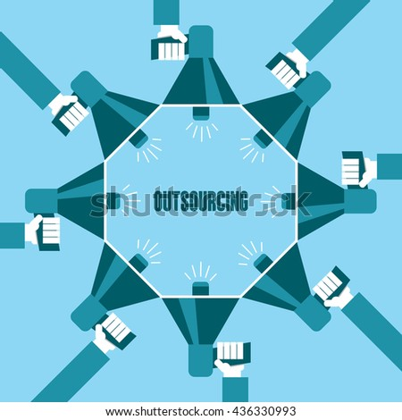 Business people with a megaphone yelling, Outsourcing - illustration - stock vector