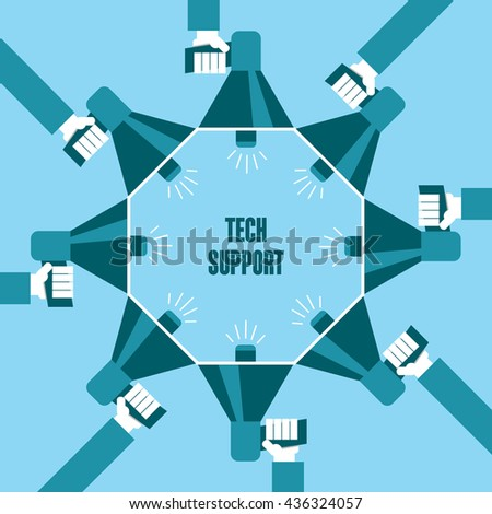 Business people with a megaphone yelling, Tech Support - illustration - stock vector