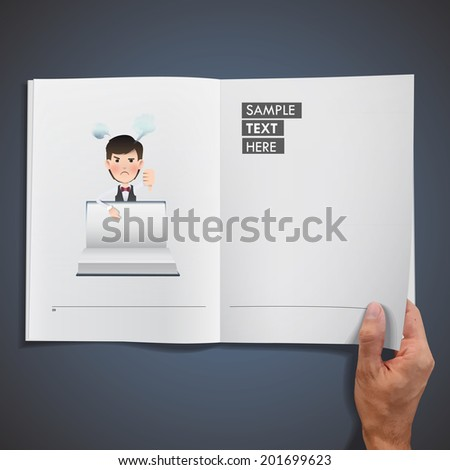 Business people with book printed on notebook - stock vector