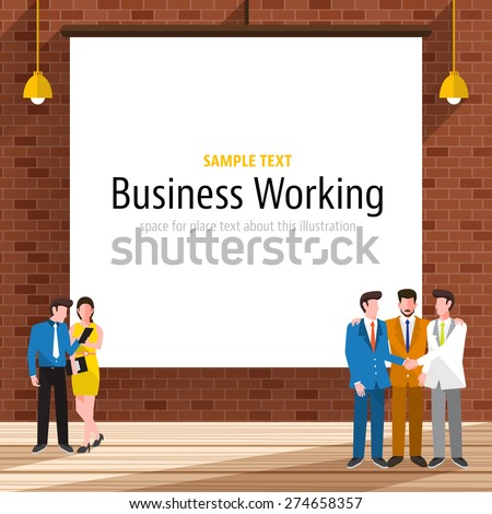 Business people with brick wall on the background.White paper canvas for use to layout with text or information.  - stock vector