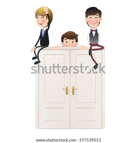 Business people with doors over white background  - stock vector