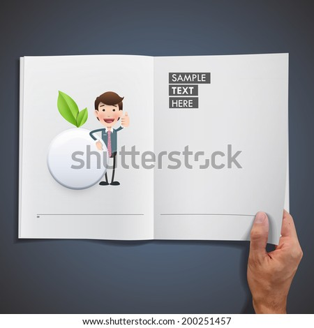 Business people with ecologic white button printed on book - stock vector
