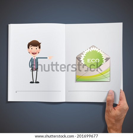 Business people with ecological icons printed on book - stock vector