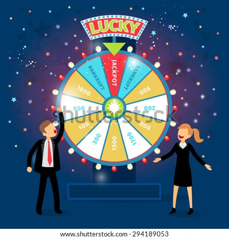 Business people with financial wheel of fortune. Gambling concept. Chance and risk, success and win, game and money. Vector illustration - stock vector