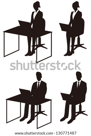 business people with pc - stock vector
