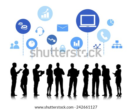 Business People with Social Media Concept Vector - stock vector