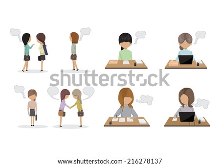 Business People With Speech Bubbles - Isolated On White Background - Vector Illustration, Graphic Design Editable For Your Design - stock vector