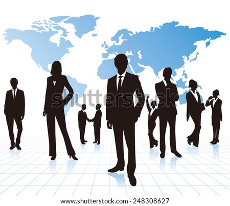 business people with world map Vector - stock vector