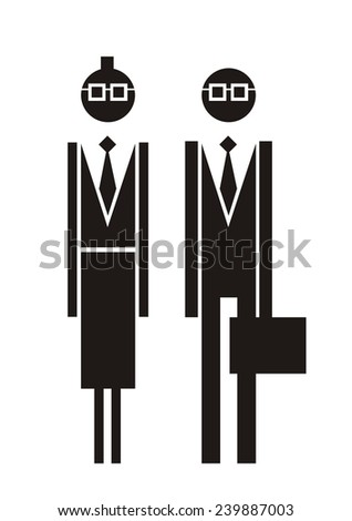 Business people. Woman and man. Vector silhouettes.  - stock vector