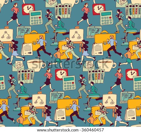 Business people work office run seamless pattern. Color seamless pattern vector illustration. EPS8 - stock vector