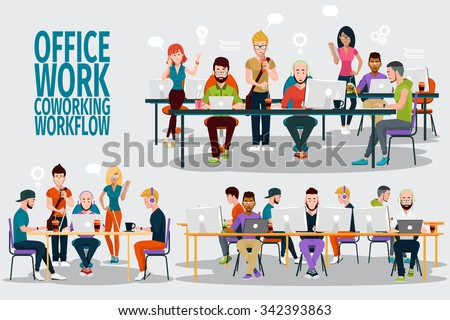 Business People Working Office Corporate Team Concept. Shared working environment. People talking and working at the computers in the open space office. Flat design style. - stock vector