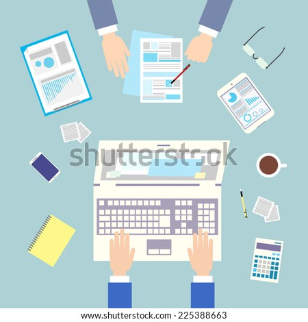 Business people workplace top angle above view sitting at office desk work vector illustration - stock vector