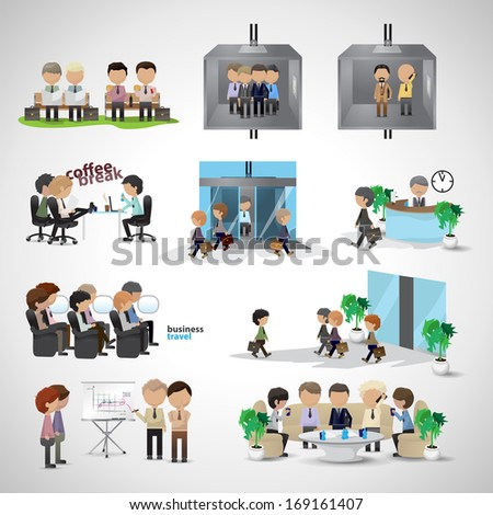 Business Peoples - Isolated On Gray Background - Vector Illustration, Graphic Design Editable For Your Design. Team Working In Office. Coffee Break Pause. Business Concept - stock vector